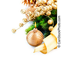 Christmas and New Year Decoration with Candle isolated on White