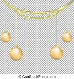 Christmas and New Year decoration with golden bows, ribbon and Christmas balls isolated on transparent background.