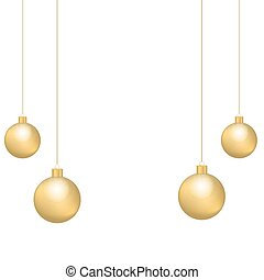 Christmas and New Year decoration with golden bows, ribbon and Christmas balls isolated on white background.