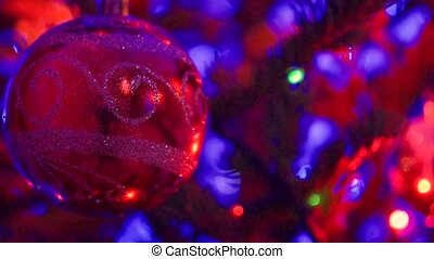 Christmas and New Year Decoration.Blinking Garland. Christmas Tree Lights Twinkling. closeup