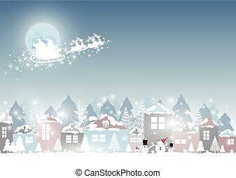 Christmas and New year design of santa claus with reindeer and village in winter