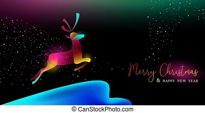 Christmas and New Year glow gradient deer card