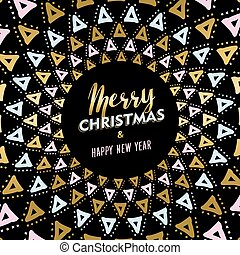Christmas and new year gold mandala card design