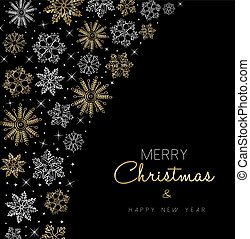 Christmas and New Year gold snow card design