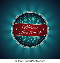 Christmas and New Year greeting card, Christmas ball, light, vector illustration with well organized layers