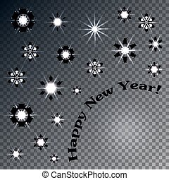 Christmas and New Year greeting card. Glow snowflakes. Abstract New Year's background.