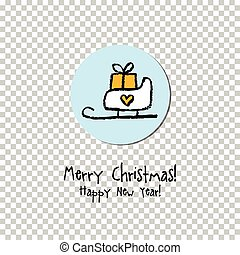 christmas and new year greeting card label gift card sticker design design