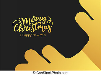 Christmas and New Year greeting card made of black paper background and decorated with gold lettering and snowflake. Postcard design for winter holidays
