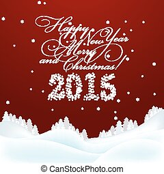 Christmas and New  Year Greeting  Card. Merry Christmas and New  Year lettering.