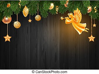 Christmas And New Year Greeting Card Template With Golden Angel And Christmas Decorations