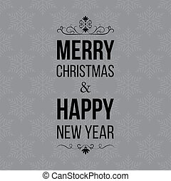 Christmas And New Year Greeting card, Typographical Background