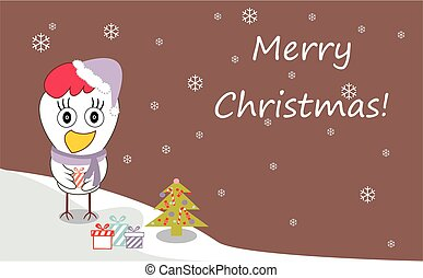 Christmas and New Year greeting card with cheerful rooster in Santa hat on snowy winter landscape. Rooster - symbol of year 2017