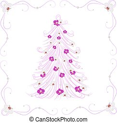Christmas tree decorated with flowers.