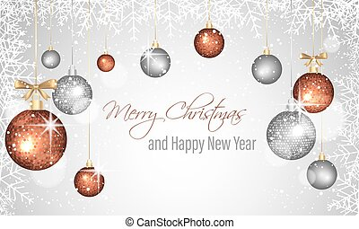 Christmas and New Year greeting card with decorative hanging baubles, snowflakes frame and stars.