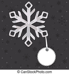 Christmas and New Year greeting card with snowflakes