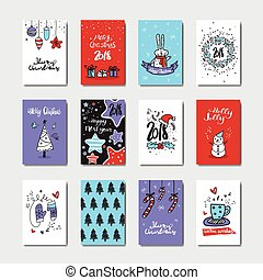 Christmas And New Year Greeting Cards Collection Doodle...