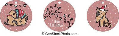 Christmas and New Year hand drawn doodle vector labels with dog