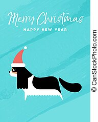 Christmas and new year holiday dog greeting card - Merry...