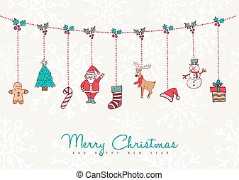Christmas and new year holiday ornament card