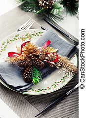 Christmas And New Year Holiday Table Setting Celebration Place setting for Dinner Decorations