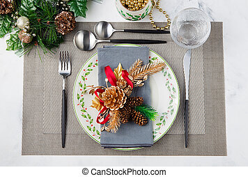 Christmas And New Year Holiday Table Setting