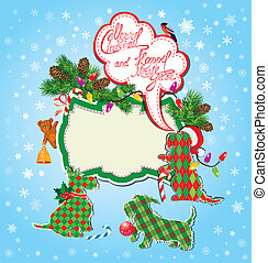 Christmas and New Year holidays card with funny scottish terrier dogs - toys, fir tree branches and empty frame for text