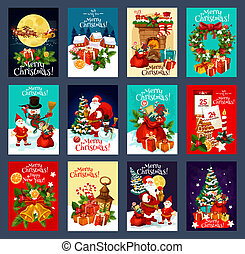 Christmas and New Year holiday greeting card set with Xmas festive symbols. Snowman, Santa and gift, Xmas tree, holly wreath, snowflake and bell, present, candy and cookie for winter holiday design