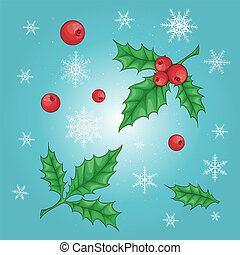 Christmas and New Year holly berry icon collection. Vector
