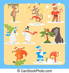 Christmas and New Year Icon Set. Vector Illustration Collection