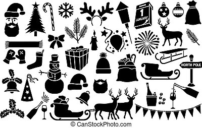 Christmas and New Year icons collection (set)