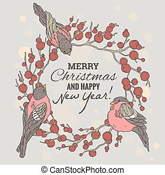 Christmas and New Year illustration with wreath, berries and bullfinches. Eps10