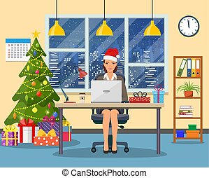 Christmas and New Year in modern office
