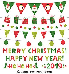 Christmas and New Year lettering and decoration set
