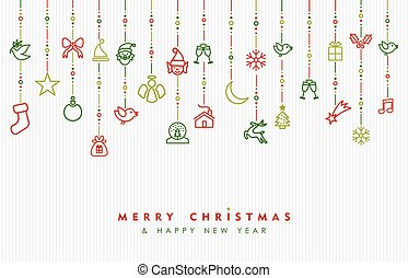 Christmas and new year ornament outline icon card