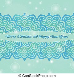 Christmas and New Year ornate cards on winter background in...