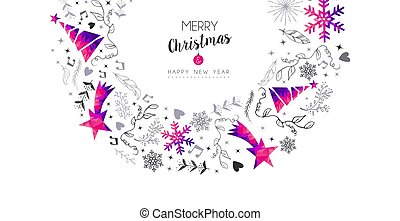 Christmas and New Year pink ornament card