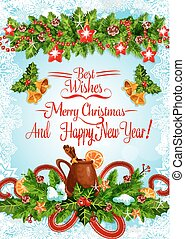 Christmas and New Year poster with Xmas garland