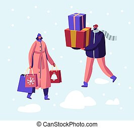 Christmas and New Year Sale and Shopping, Preparation for Winter Holidays. Happy Male and Female Character in Warm Clothes Walking with Gift Boxes and Paper Bags. Cartoon Flat Vector Illustration