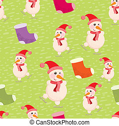 seamless background with snowmen