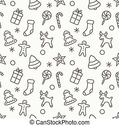 Christmas and New Year seamless pattern background. Vector Illustration.