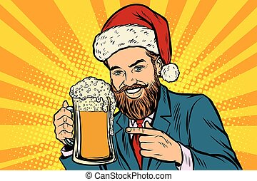 Christmas and New year. Smiling man with a mug of beer foam