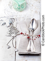 Christmas and New year table place setting with decorations...