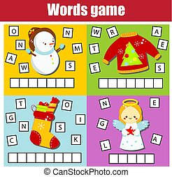 Christmas and New Year theme word game for kids and toddlers. Educational children game. Learn English vocabulary