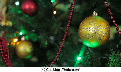 Christmas and New Year tree decoration, garland and toys