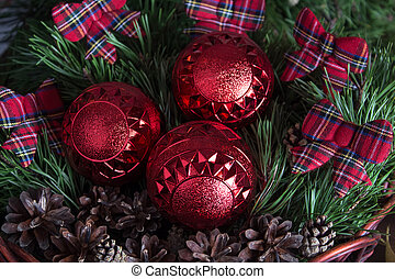 Christmas and new year tree toys with beautiful ribbons on the background of the Christmas tree. New year 2020.