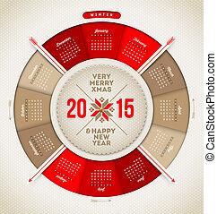 Christmas and New year vector calendar 2015