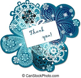 Christmas and New Year. Vector greeting, thank you, invitation card with snowflakes and place for your text.