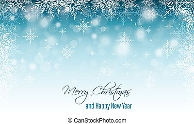 Christmas and New Year wishes. Winter vector blurred banner with snow and snowflakes.