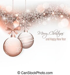 Christmas and New Year wishes with hanging baubles and bow.