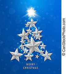 Christmas and New Years blue background with Christmas Tree made of stars.